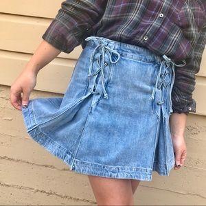 NWOT Free People Denim Pleated Lace Up Mini Skirt